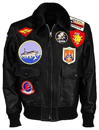 dacee8e4d87 Tom Cruise Top Gun Maverick Fur Collar Patches Shearling Aviator Pilot  Bomber Real Leather Jacket