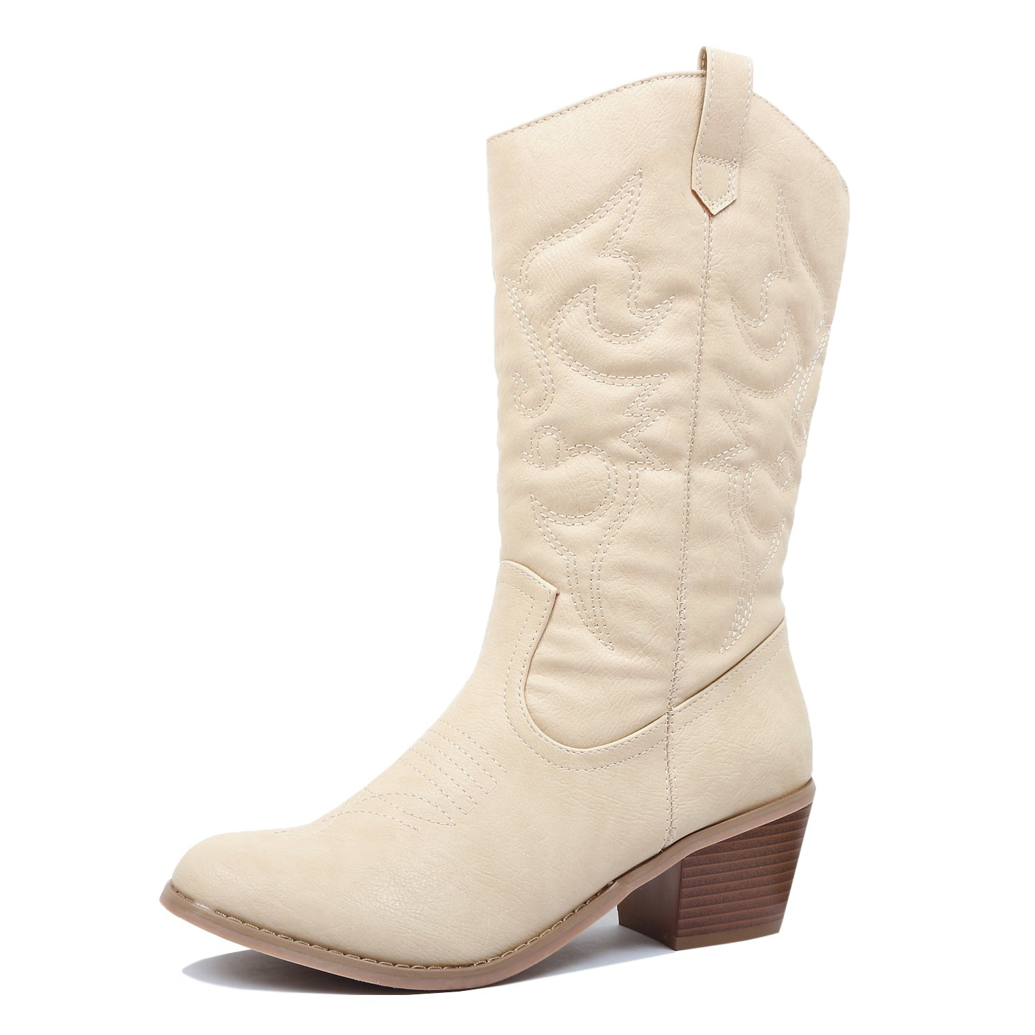 West Blvd Miami Cowboy Western Boots Boots, Beige Pu, 10 (B) M US by West Blvd (Image #1)