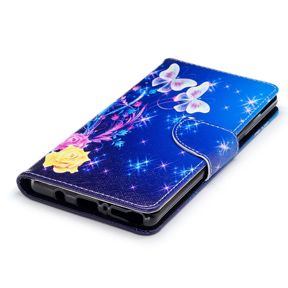 Galaxy Note 8 Case,Note 8 Case with Stylus Pen,Qbily Floral Butterfly Luxury Glitter Bling Leather Flip Kickstand Cover Wallet Case [Card Slots Holder/Magnet] Cute Girls Women Protective Case Blue by Qbily (Image #7)