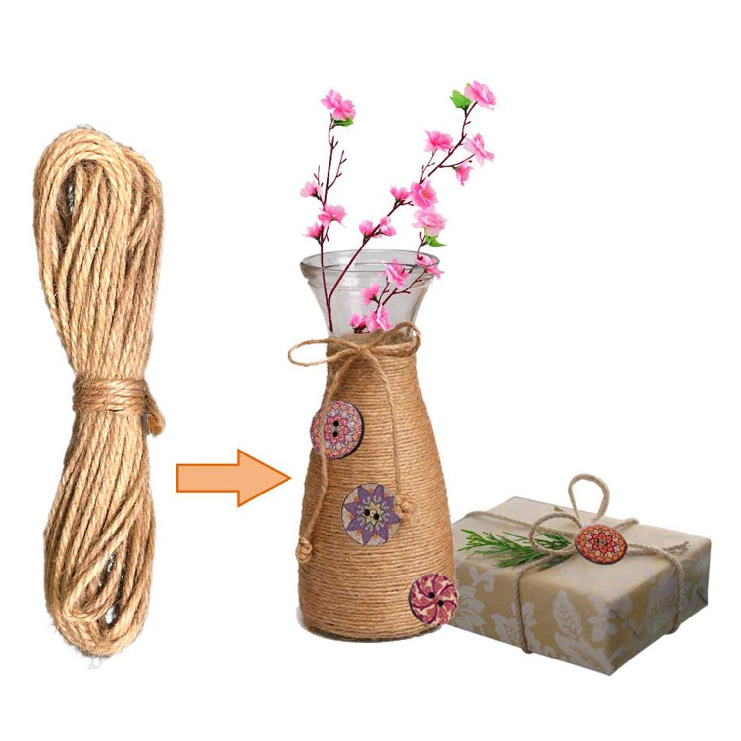 500 Pieces Wood Buttons, 2 Holes Round Flower and Guitar Wooden Buttons Vintage Buttons for DIY Sewing Craft Decorations, with 65.6 Feet Natural Jute Twine