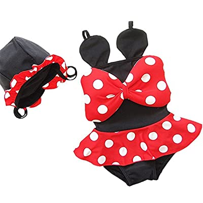 Baby Girls Toddler Kids 2 Piece Polka Dots Swimwear Bikini Skirts Swimsuit With Hat