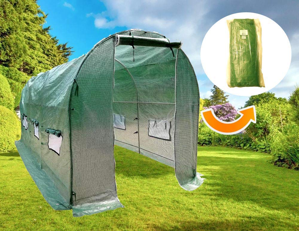 MTB Replacement UV Resistant PE Cover for Larger Walk-in Outdoor Gardening Greenhouse, 15'x7'x7'- 450x200x200cm, Green by MTB SUPPLY