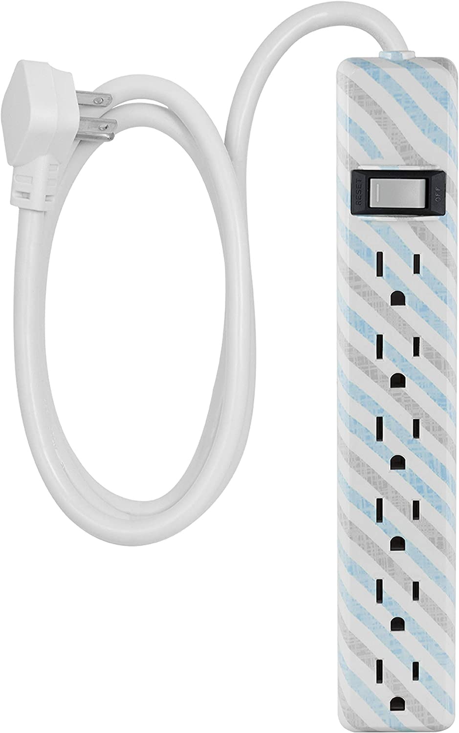 6 Outlet Power Strip, 4 Ft Power Cord, Flat Plug, Wall Mount, For Bedroom, Dorm, or Home Décor, Power Switch, Integrated Circuit Breaker, UL Listed, White, Gray & Mint Stripes, 31040