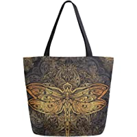 ZzWwR Boho Ethnic Mandala Dragonfly Extra Large Canvas Shoulder Tote Top Handle Bag for Gym Beach Travel Shopping