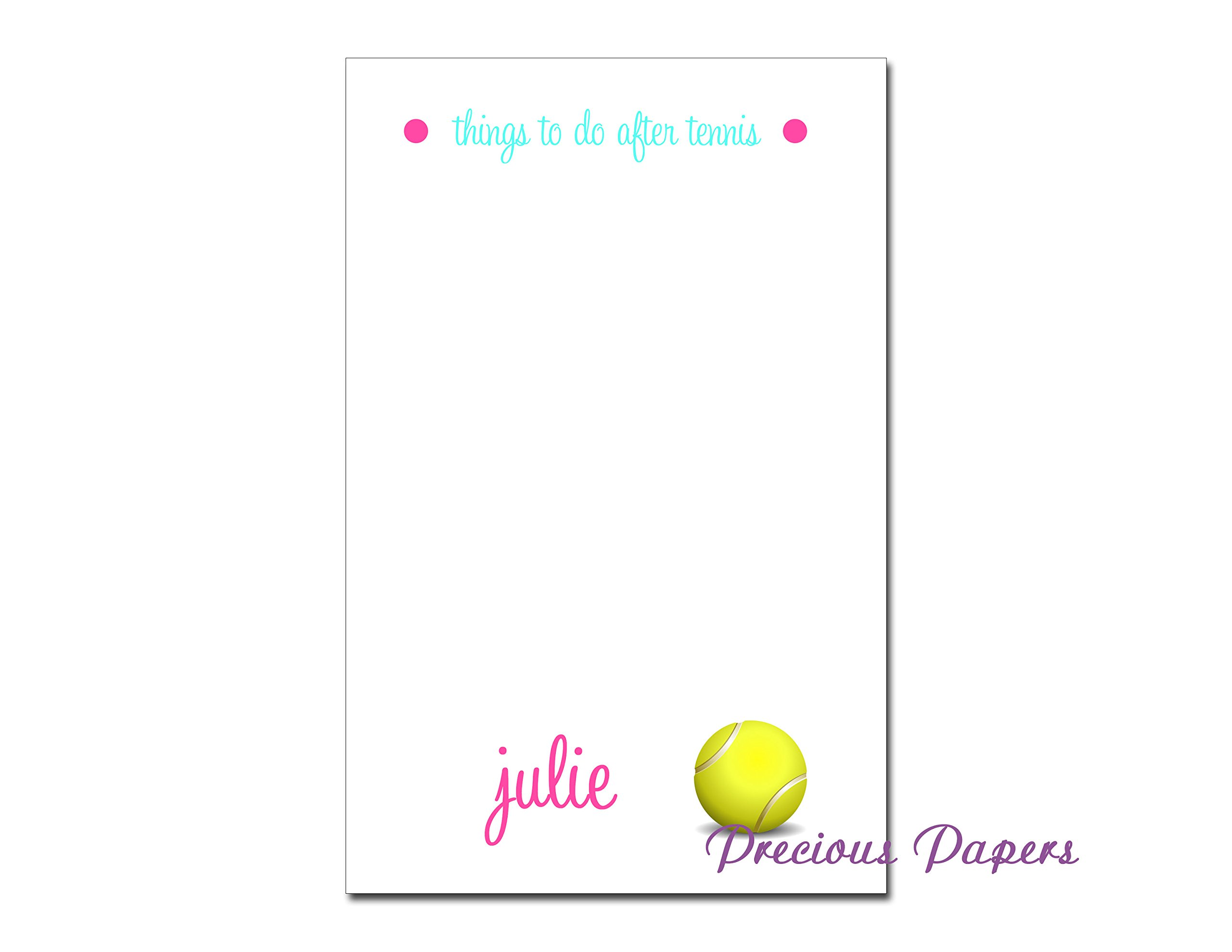 Personalized tennis note pad, tennis stationery, tennis notepad, ladies tennis gift
