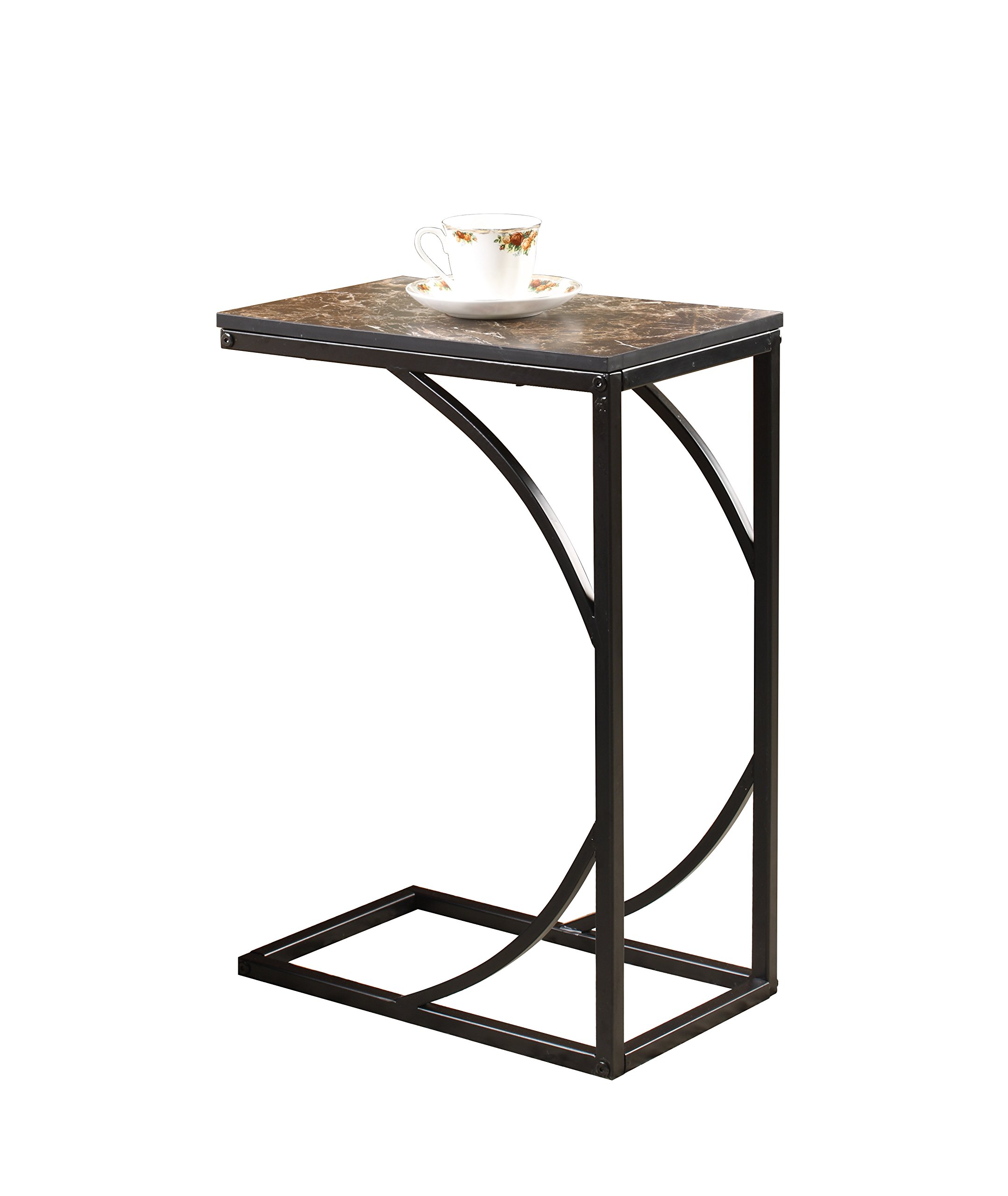 Pilaster Designs - Metal With Marble Finish Top Magazine Snack Side Sofa Table