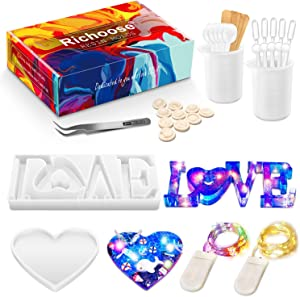 Richoose 38Pcs DIY Resin Silicone Casting Molds Set Includes Love Sign Word and Big Heart Shape Mold with 36Pcs Making Tools for Epoxy Resin Crafts Home Table Decor