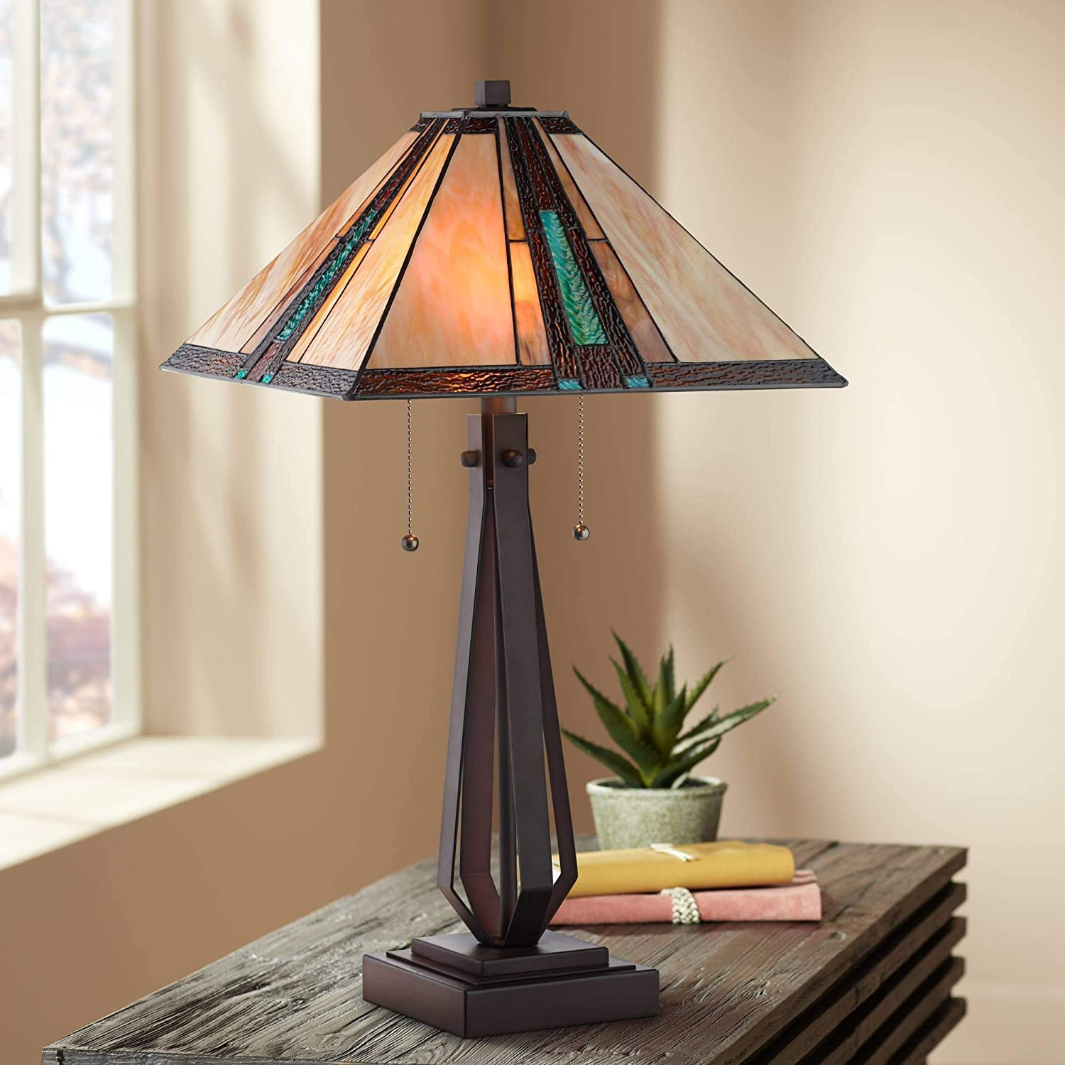Roger Marta Mission Southwestern Tiffany Style Table Lamp Bronze Brown Metal Stained Art Glass Shade Decor for Living Room Bedroom House Bedside Nightstand Home Office Family - Franklin Iron Works