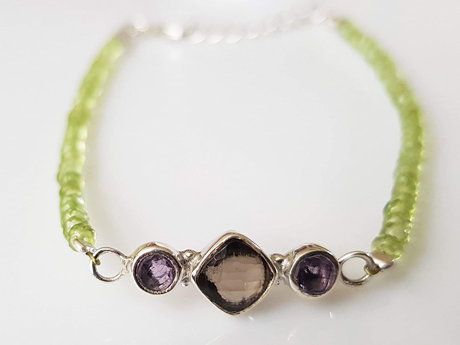 Green Peridot & Moonstone Beads Bar Bracelet with 925 Silver beads & clasp 6.50\' Handmade Gemstone Jewelry