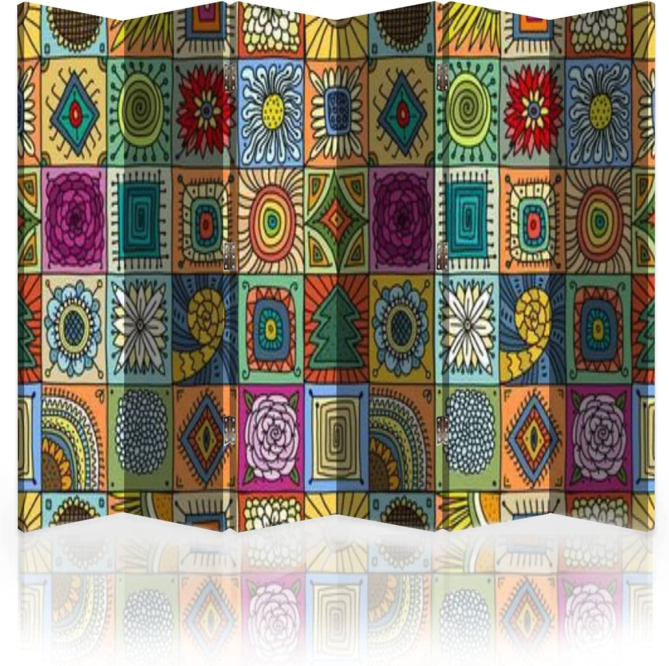 Canvas Room Divider Screen Talavera Pattern Indian Patchwork Turkish Ornament Moroccan Tile Room Separator Folding Screen Privacy Partition Wall Dividers for Rooms 6 Panels