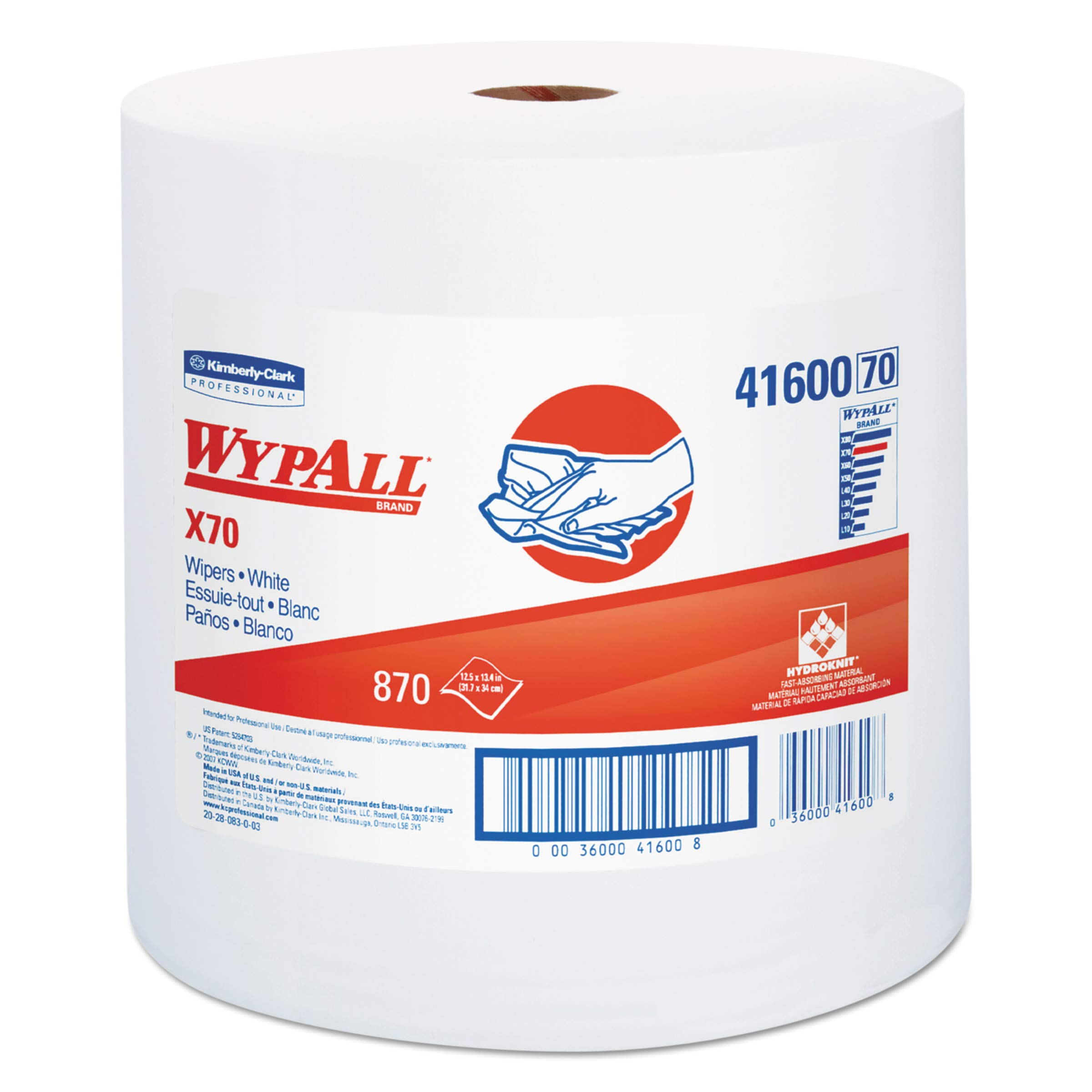 WypAll 41600 X70 Cloths, Jumbo Roll, Perf., 12 1/2 x 13 2/5, White, 870 Towels/Roll