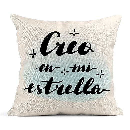 Kinhevao Cojín Creo En Mi Estrella Letras de Mano Traducción ...