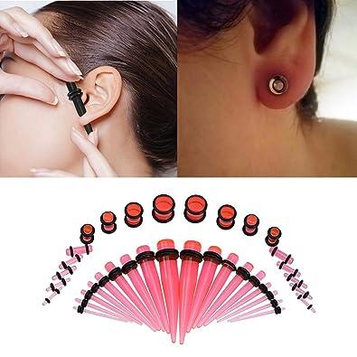 Expansor de Oreja de Acrílico 8 tipos de moda camilla Ear Plug Taper Expander O-