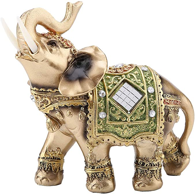 Amazon Com Akozon Elephant Statue Lucky Feng Shui Green Elephant Statue Sculpture Wealth Figurine Gift Home Decoration L Kitchen Dining