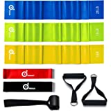 Odoland 5 Packs Resistance Loop Bands and Rehab Bands with Door Anchor and Handles for Upper Body, Lower Body, Core Exercise, Physical Therapy, Lower Pilates, At-Home Workouts