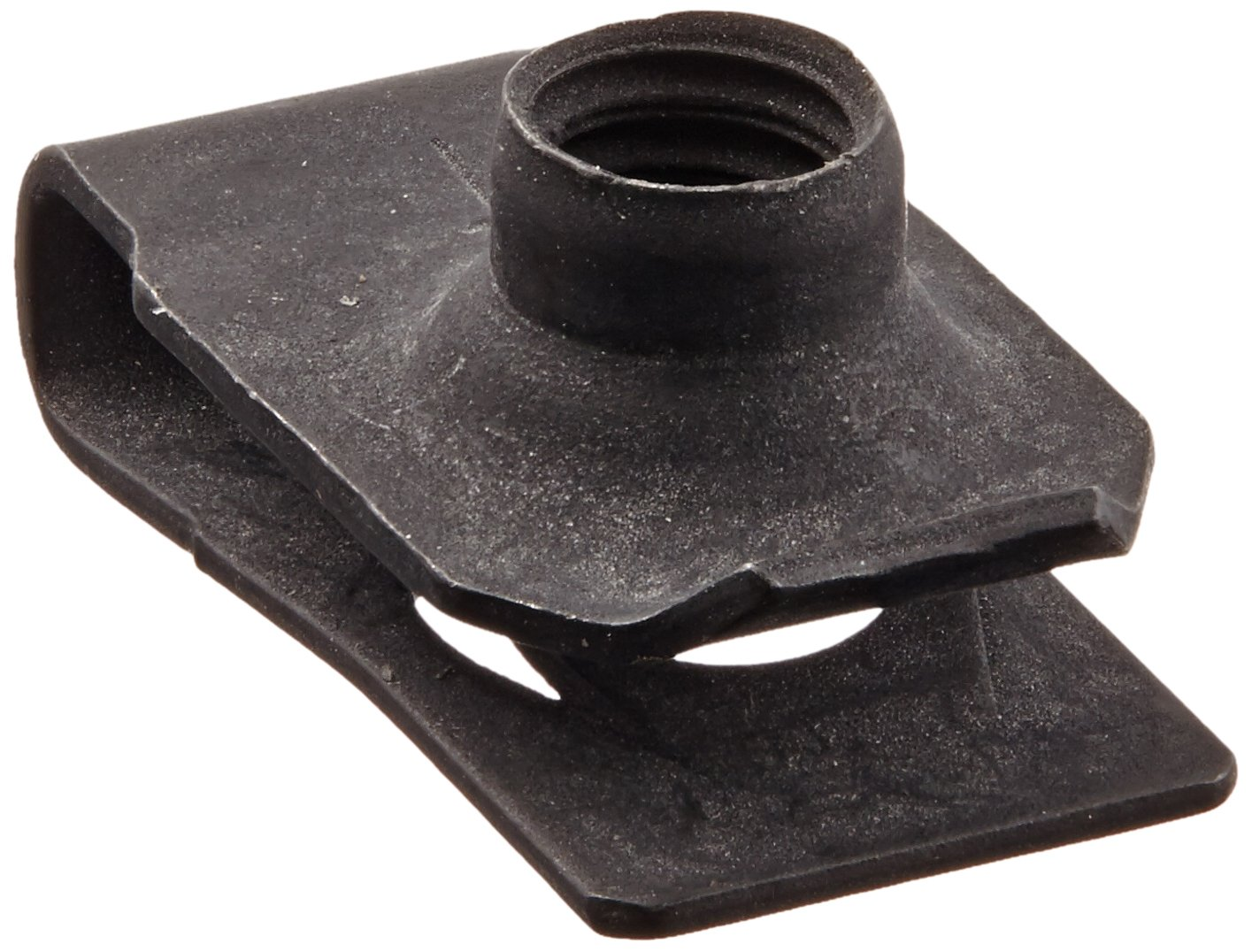 """Steel Tapped-Hole U-Style Clip-On Nut, Plain Finish, 1/4""""-20 Thread Size, For 0.025""""-0.15"""" Material Thickness, 0.531"""" Edge Distance (Pack of 25)"""