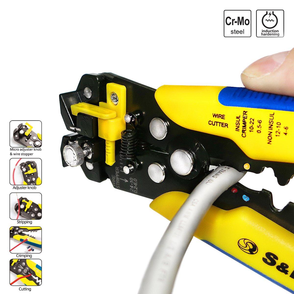 S/&R Pince /à D/énuder Automatique//Pince /à Sertir//Cutter Auto-r/églable//Pince Automatique avec Reglage de Pr/écision Cables AWG