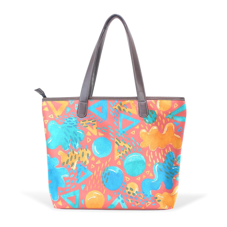 Womens Leather Tote Bag,Cartoon Graphic Checker Fresh Design,Large Handbag