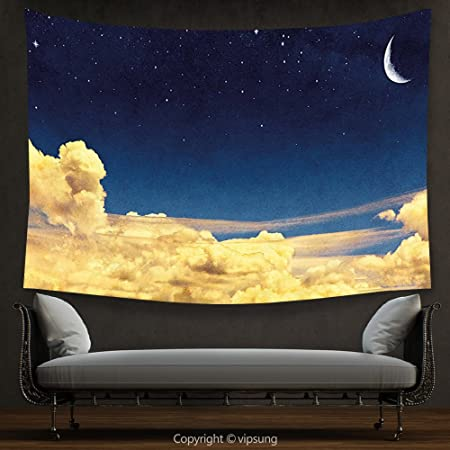 House Decor Tapestry Sky Night Cloudscape with Stars Crescent Moon ...