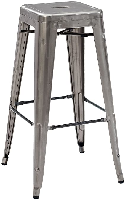 Crosley Furniture Amelia Metal Cafe Barstool   Galvanized (Set Of 2)