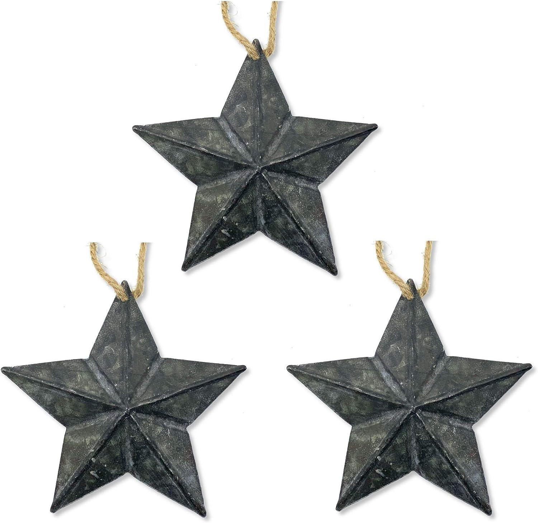 THE JOY TREE Distressed Metal Stars - Set of 3 Primitive Farmhouse Hanging Decorations Ornaments