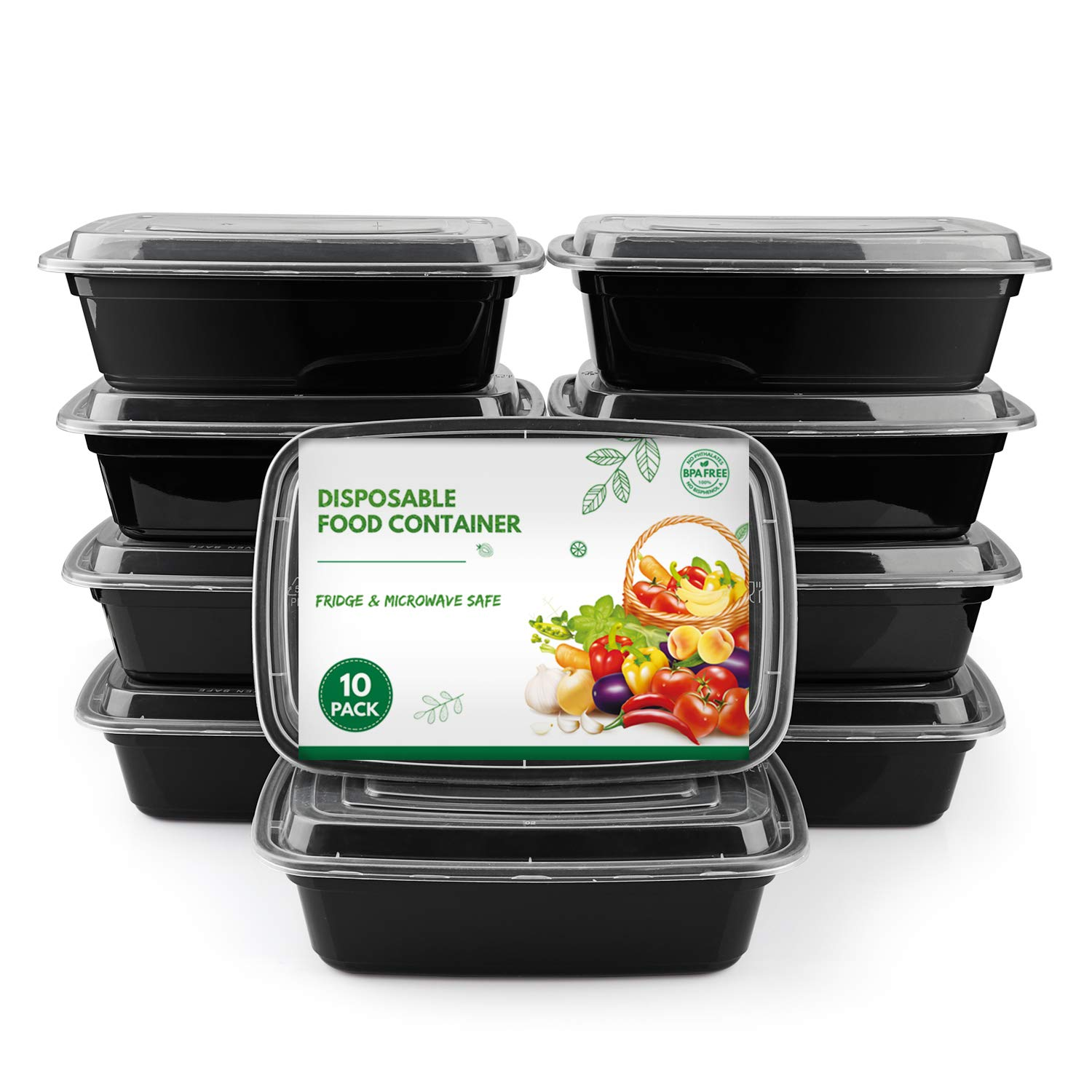 [10 Pack] Meal Prep Containers, Reusable Food Storage Containers with Lids, BPA-Free Polypropylene Food Take Out Boxes Leftover Containers, Freezer & Microwavable, 1-Compartment, 1000mL
