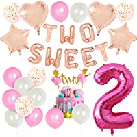2nd Birthday Decorations for Girls, TWO SWEET Number 2 Foil Balloon, Dancing Girl Cake Toppers, Confetti Balloons for…