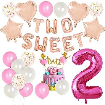 JOYMEMO Decoraciones de Segundo cumpleaños para niñas, Dos ...