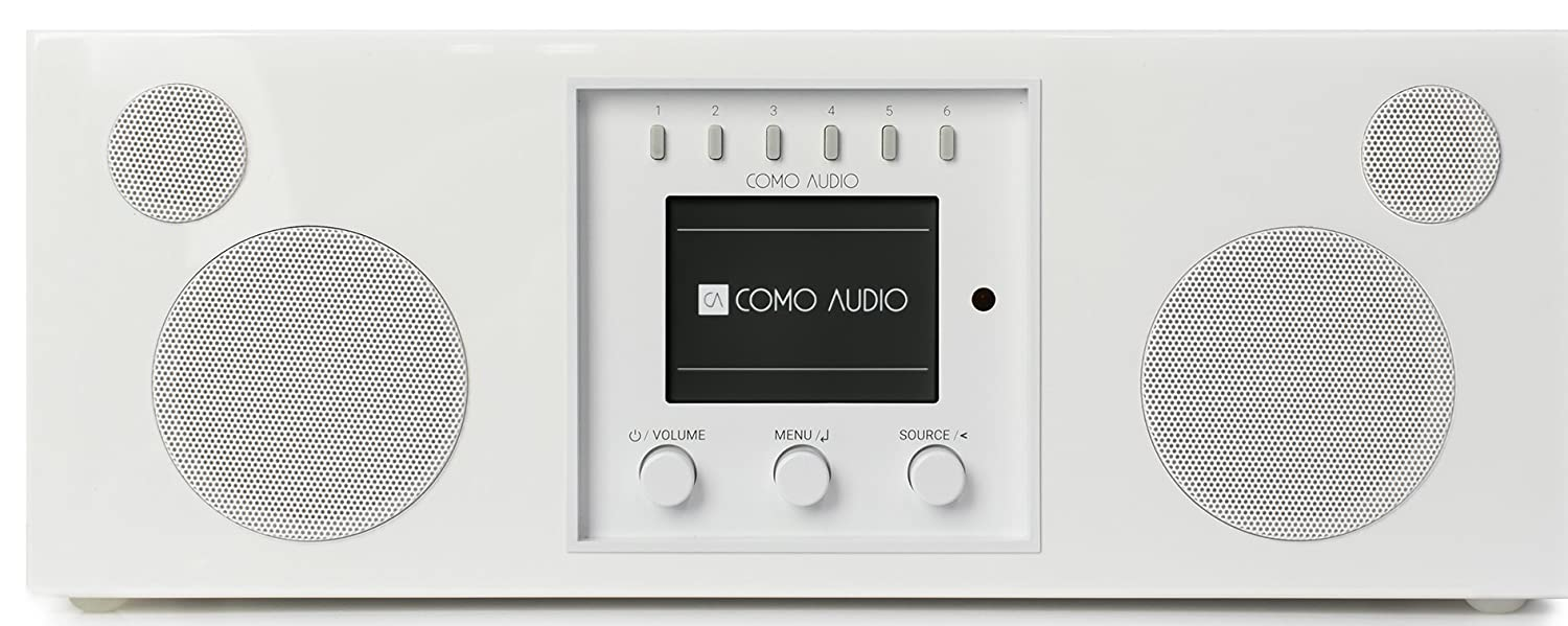 Como Audio: Duetto - Wireless Music System with Internet Radio, Spotify Connect, Wi-Fi, FM, and Bluetooth - Piano White