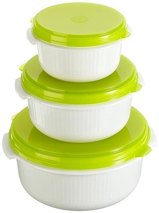 Emsa 509741 Juego de recipientes para microondas, color verde y blanco, 3 unidades