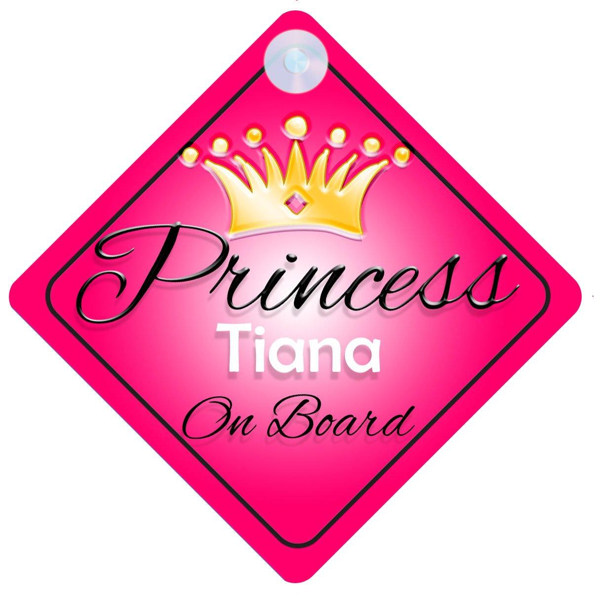 Princesse–Tiana on Board Personnalisé Fille Voiture Panneau pour bébé/enfant cadeau 001 mybabyonboard UK