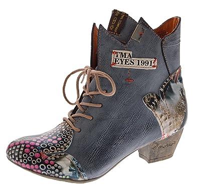 b12aafb82ca7 TMA Damen Stiefeletten echt Leder Stiefel Muster variieren Comfort Schuhe  7707 Boots Schwarz Gr. 36