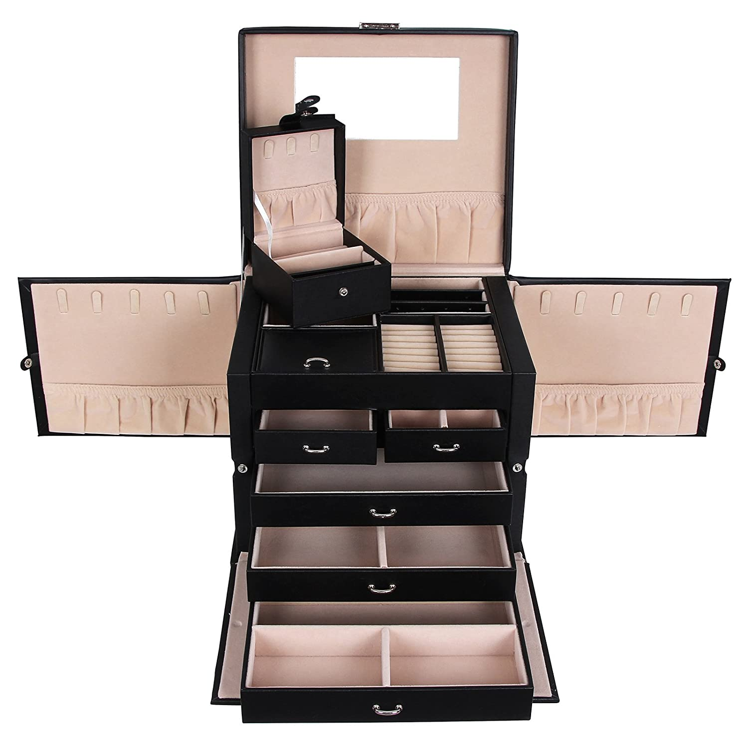 coffret a bijoux moderne soldes compactor grand coffret noir pour maquillage et bijoux with. Black Bedroom Furniture Sets. Home Design Ideas