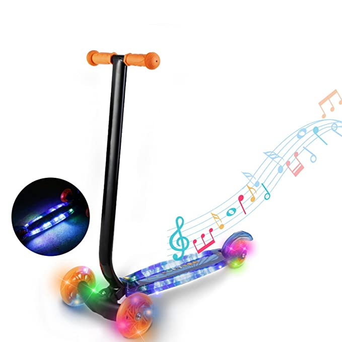 Amazon.com : Child Kids 3-Wheel Kick Scooter with LED Light ...