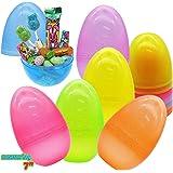 12 huevos de Pascua de 7 pulgadas, de plástico brillante y brillante, surtidos para rellenar dulces, recuerdo de fiesta temát