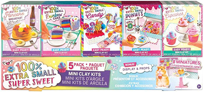 Fashion Angels 100% Extra Small Sweets Mini Clay 5 Pack- Air Dry Clay- Tiny Food Kit, Multi