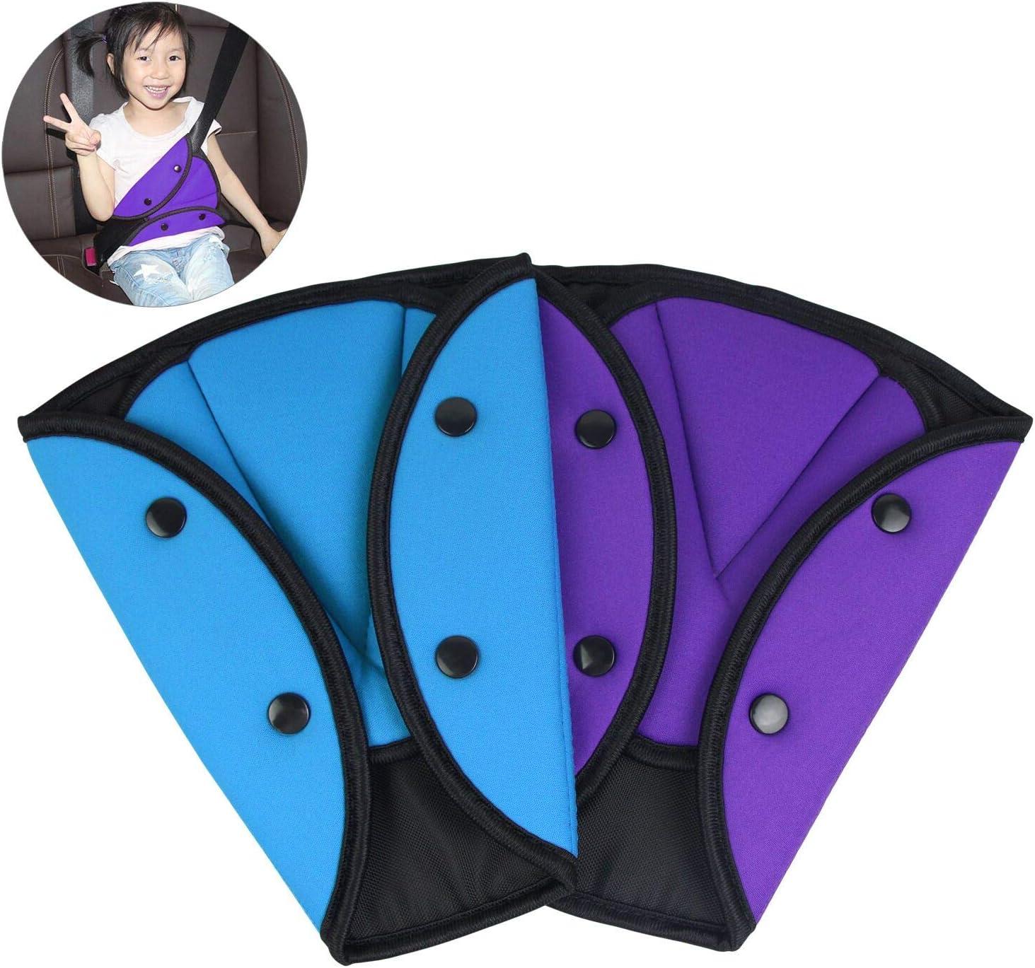Kshcf Car Seatbelt Adjuster Triangle Safety Strap Protector Cushion Pad Adjuster,Blue