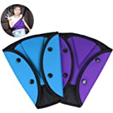 AK KYC 2 Pack Car Safety Kids Seatbelt Adjuster Cover Strap Mash Shoulder Pad Children Seat Belt Clips Purple + Blue