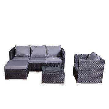 Concept-Usine - Nevala noir/gris: salon de jardin 6 places en résine ...