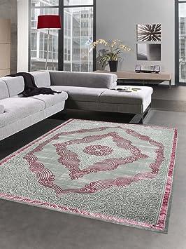 Carpetia Tapis Moderne Tapis Du Salon Ornements Moquette Orient Gris Rose Argente Grosse 80x150 Cm