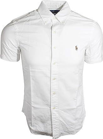 Ralph Lauren - Camiseta de Manga Corta para Hombre (Talla pequeña), Color Blanco: Amazon.es: Ropa y accesorios