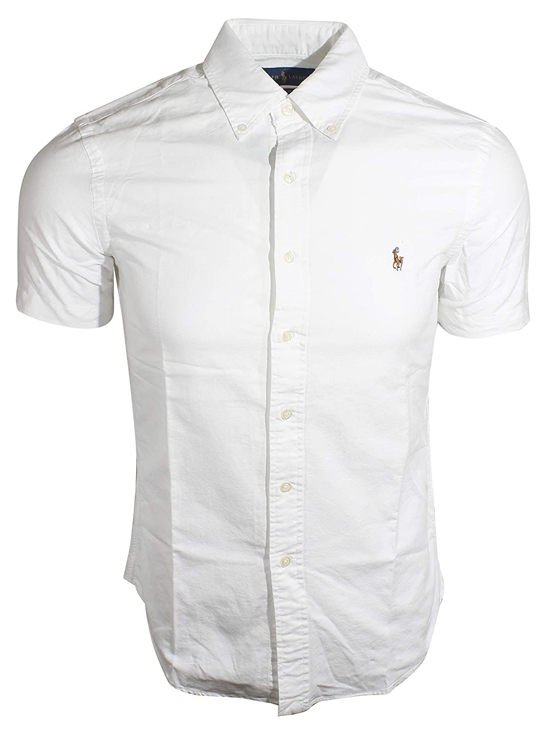 b9d9abcb6 RALPH LAUREN Men s Slim Fit Oxford Short Sleeve Striped Shirt at Amazon  Men s Clothing store