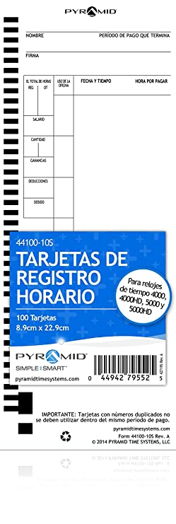 Amazon.com : Pyramid English/French Time Cards for 4000, 4000HD, 4000Pro, 5000 & 5000HD Clocks, 100 Pack (44100-10F) : Office Products
