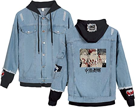 Anime呪術廻戦 DenimJacket、アダルトボタンパーカージーンズコート、五条悟 Itȧdori Yụji 印刷プルオーバー、ファッションデニムの苦しんでジャケット