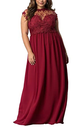 2018 Plus Size Prom Dresses Long Chiffon Lace Bateau Short Sleeve Party Dress For Special Occasion