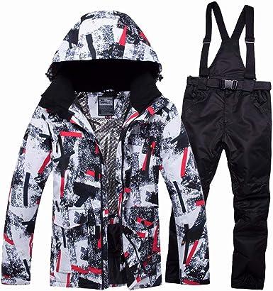 Mens Waterproof Ski Suit Winter Warm Windproof Hooded Jacket and Pants Snowsuit Set