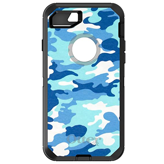 best loved dfde5 c9894 DistinctInk Case for iPhone 7 Plus / 8 Plus - OtterBox Defender Black  Custom Case - Blue White Camouflage - Camouflage Pattern