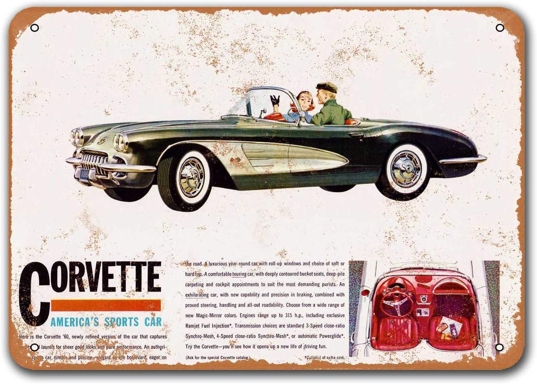 Saraheve 1960 Corvette Vintage Car Tin Signs, Metal Plaques Poster Man Cave Bar Retro Wall Decor 16x12 inch Gift Plaque