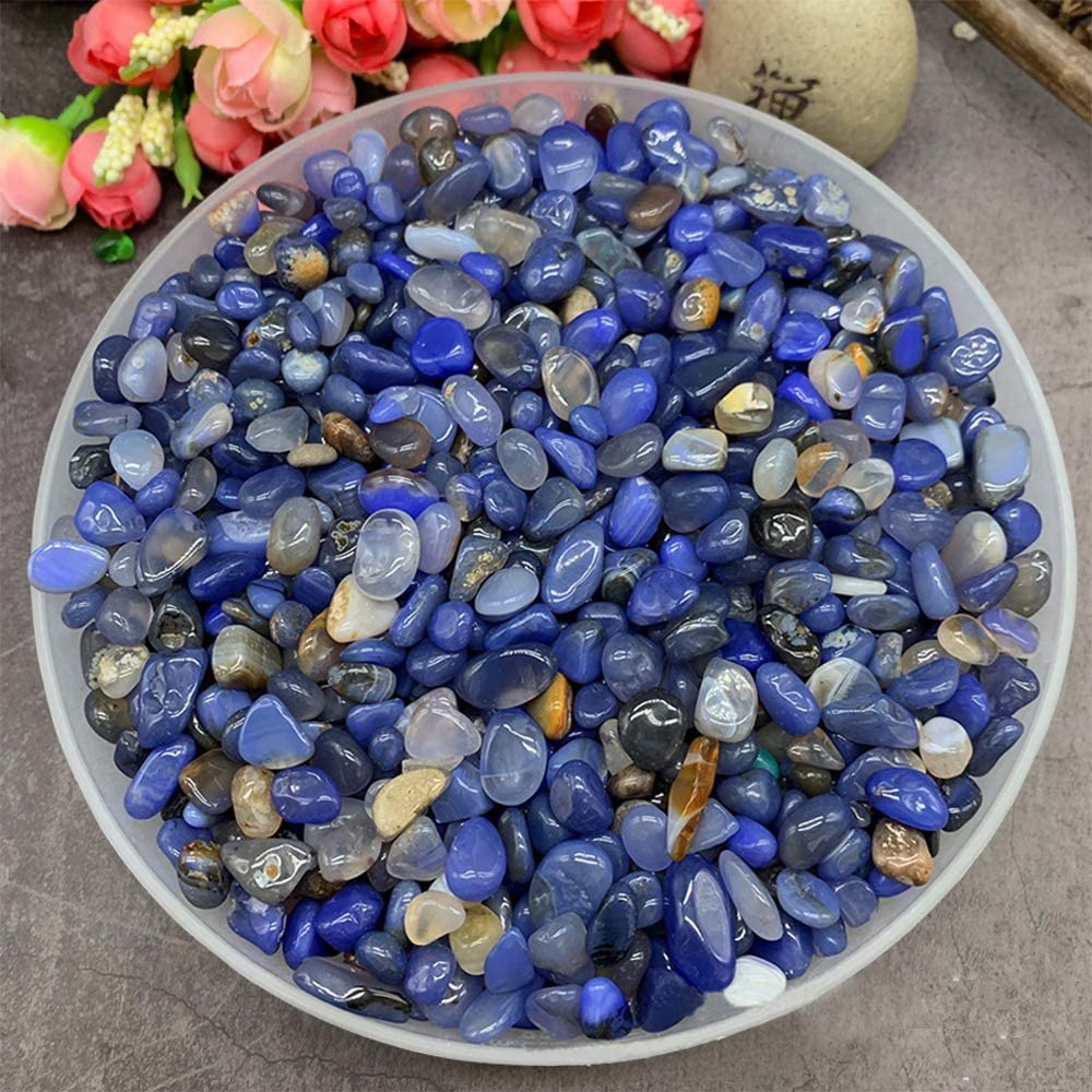 CrazyCharlie 1lb Blue Agate Tumbled Dyed Stone Chips,Natural Irregular Shaped Stones Healing Reiki Crystals for Vases Fish Tank Garden