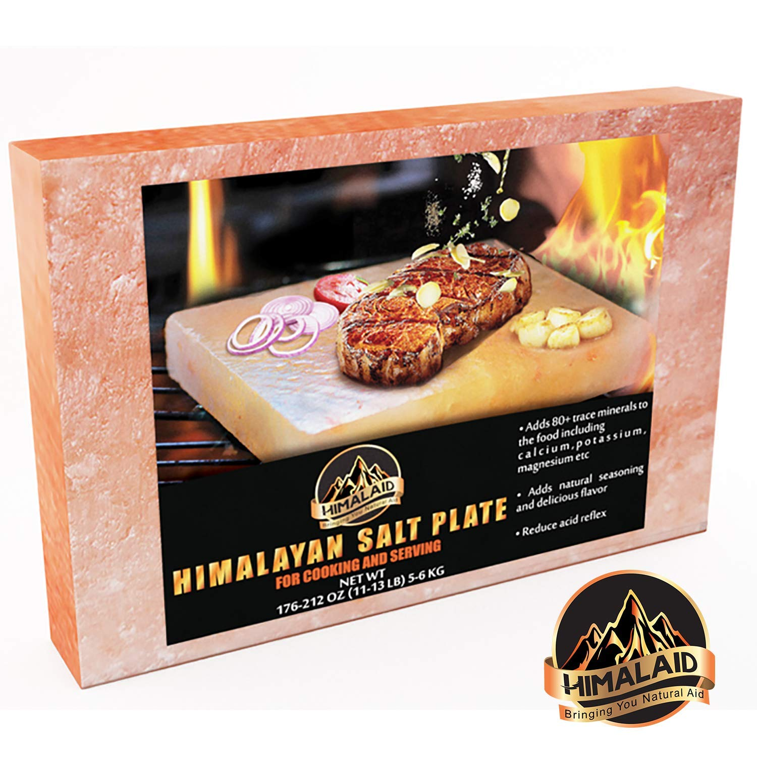 HIMALAID Himalayan Salt Block, 12'' x 8'' x 2'' Large - for Cooking & Serving. Naturally Flavors Food, Provides 80 Plus Trace Minerals: Calcium, Potassium, Magnesium. Balances pH to Reduce Acid.